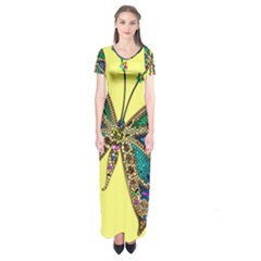Butterfly Mosaic Yellow Colorful Short Sleeve Maxi Dress by Amaryn4rt