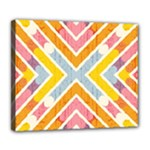 Line Pattern Cross Print Repeat Deluxe Canvas 24  x 20