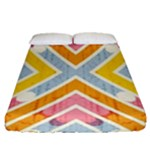 Line Pattern Cross Print Repeat Fitted Sheet (Queen Size)