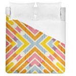 Line Pattern Cross Print Repeat Duvet Cover (Queen Size)