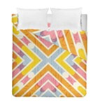Line Pattern Cross Print Repeat Duvet Cover Double Side (Full/ Double Size)