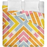 Line Pattern Cross Print Repeat Duvet Cover Double Side (King Size)