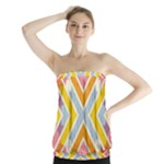 Line Pattern Cross Print Repeat Strapless Top