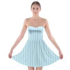 Stripes Striped Turquoise Strapless Bra Top Dress