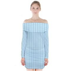 Stripes Striped Turquoise Long Sleeve Off Shoulder Dress by Amaryn4rt