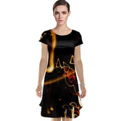 Abstract Cap Sleeve Nightdress