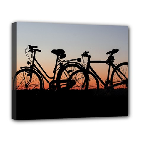 Bicycles Wheel Sunset Love Romance Deluxe Canvas 20  X 16   by Amaryn4rt