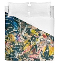 Art Graffiti Abstract Vintage Lines Duvet Cover (queen Size) by Amaryn4rt
