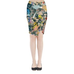 Art Graffiti Abstract Vintage Lines Midi Wrap Pencil Skirt by Amaryn4rt