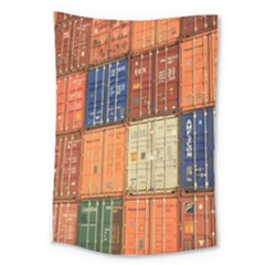 Blue White Orange And Brown Container Van Large Tapestry by Amaryn4rt