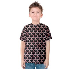 Scales3 Black Marble & Red & White Marble Kids  Cotton Tee