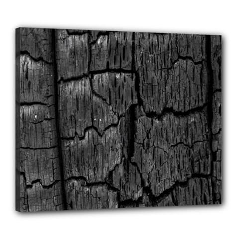 Coal Charred Tree Pore Black Canvas 24  X 20  by Amaryn4rt