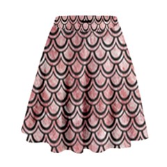 Scales2 Black Marble & Red & White Marble (r) High Waist Skirt by trendistuff