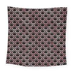 Scales2 Black Marble & Red & White Marble Square Tapestry (large)