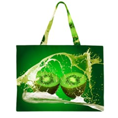 Kiwi Fruit Vitamins Healthy Cut Zipper Large Tote Bag by Amaryn4rt
