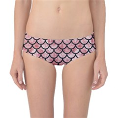 Scales1 Black Marble & Red & White Marble (r) Classic Bikini Bottoms