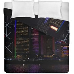 Hong Kong China Asia Skyscraper Duvet Cover Double Side (King Size) by Amaryn4rt