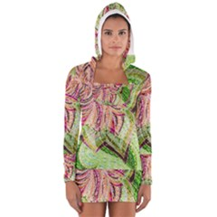 Colorful Design Acrylic Women s Long Sleeve Hooded T Shirt by Amaryn4rt