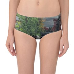 Landscape Summer Fall Colors Mill Mid Waist Bikini Bottoms by Amaryn4rt