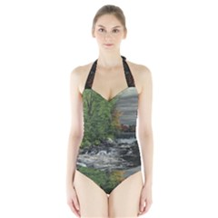 Landscape Summer Fall Colors Mill Halter Swimsuit by Amaryn4rt