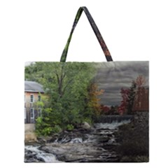 Landscape Summer Fall Colors Mill Zipper Large Tote Bag by Amaryn4rt