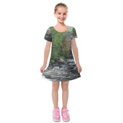 Landscape Summer Fall Colors Mill Kids  Short Sleeve Velvet Dress by Amaryn4rt