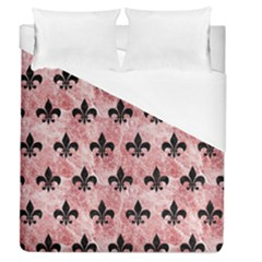 Royal1 Black Marble & Red & White Marble Duvet Cover (queen Size) by trendistuff