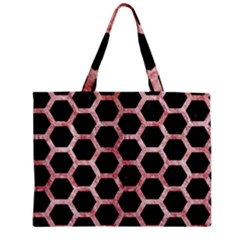 Hexagon2 Black Marble & Red & White Marble Zipper Mini Tote Bag by trendistuff