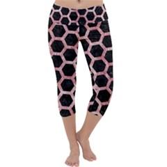 Hexagon2 Black Marble & Red & White Marble Capri Yoga Leggings by trendistuff