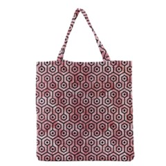 Hexagon1 Black Marble & Red & White Marble (r) Grocery Tote Bag by trendistuff