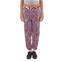 Hexagon1 Black Marble & Red & White Marble (r) Women s Jogger Sweatpants by trendistuff