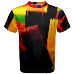 Plastic Brush Color Yellow Red Men s Cotton Tee by Amaryn4rt