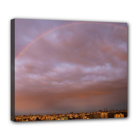 Rain Rainbow Pink Clouds Deluxe Canvas 24  X 20   by Amaryn4rt