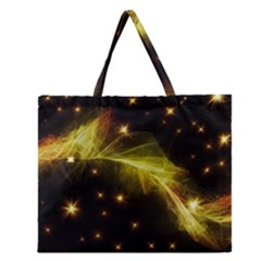 Particles Vibration Line Wave Zipper Large Tote Bag by Amaryn4rt