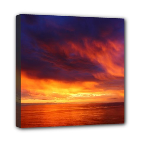 Sunset The Pacific Ocean Evening Mini Canvas 8  X 8  by Amaryn4rt