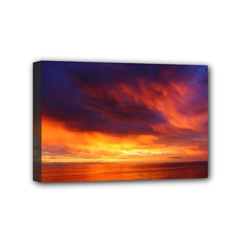 Sunset The Pacific Ocean Evening Mini Canvas 6  X 4  by Amaryn4rt
