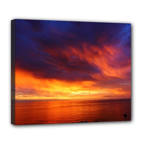 Sunset The Pacific Ocean Evening Deluxe Canvas 24  X 20   by Amaryn4rt