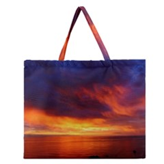 Sunset The Pacific Ocean Evening Zipper Large Tote Bag by Amaryn4rt