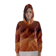 Sandstone The Wave Rock Nature Red Sand Hooded Wind Breaker (women) by Amaryn4rt