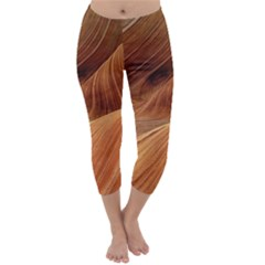 Sandstone The Wave Rock Nature Red Sand Capri Winter Leggings  by Amaryn4rt