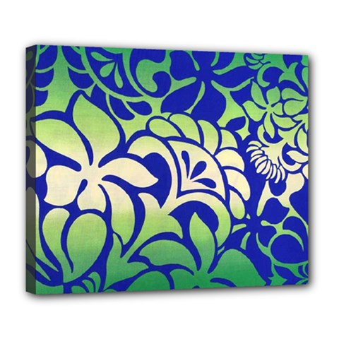 Batik Fabric Flower Deluxe Canvas 24  X 20   by AnjaniArt