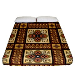 Batik Flower Brown Fitted Sheet (queen Size) by AnjaniArt