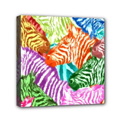 Zebra Colorful Abstract Collage Mini Canvas 6  X 6  by Amaryn4rt