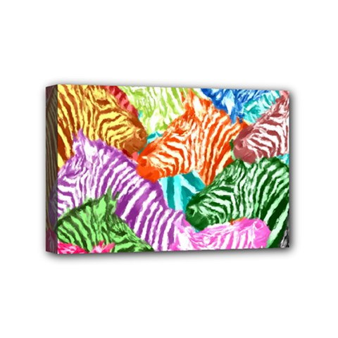 Zebra Colorful Abstract Collage Mini Canvas 6  X 4  by Amaryn4rt
