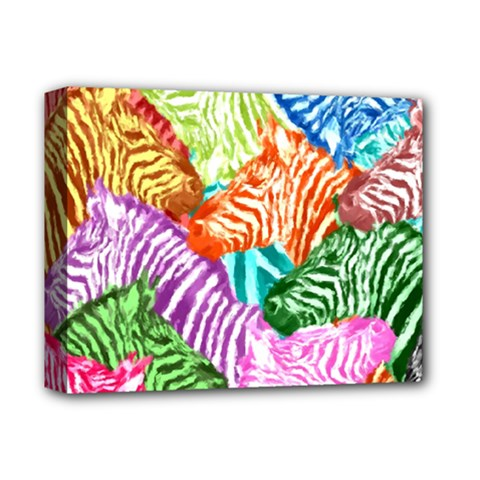 Zebra Colorful Abstract Collage Deluxe Canvas 14  X 11  by Amaryn4rt