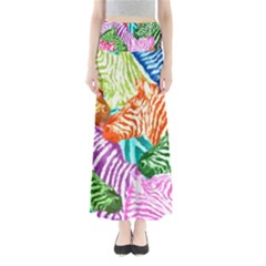 Zebra Colorful Abstract Collage Maxi Skirts by Amaryn4rt