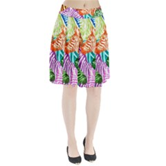 Zebra Colorful Abstract Collage Pleated Skirt by Amaryn4rt