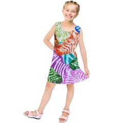 Zebra Colorful Abstract Collage Kids  Tunic Dress by Amaryn4rt