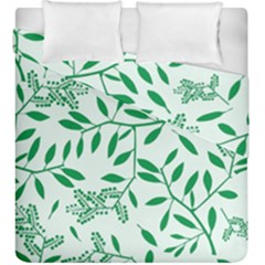 Leaves Foliage Green Wallpaper Duvet Cover Double Side (king Size) by Amaryn4rt