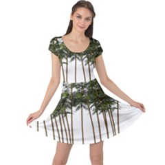 Bamboo Plant Wellness Digital Art Cap Sleeve Dresses